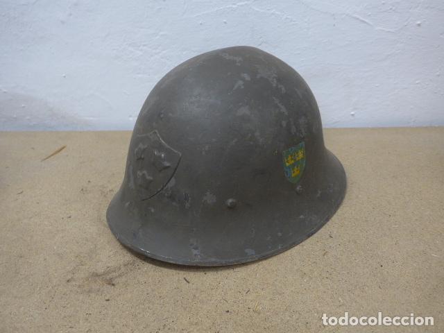 ANTIGUO CASCO SUECO MODELO 1921 CON DOBLE CALCA, ORIGINAL, SUECIA. COMPLETO. (Militar - Cascos Militares )