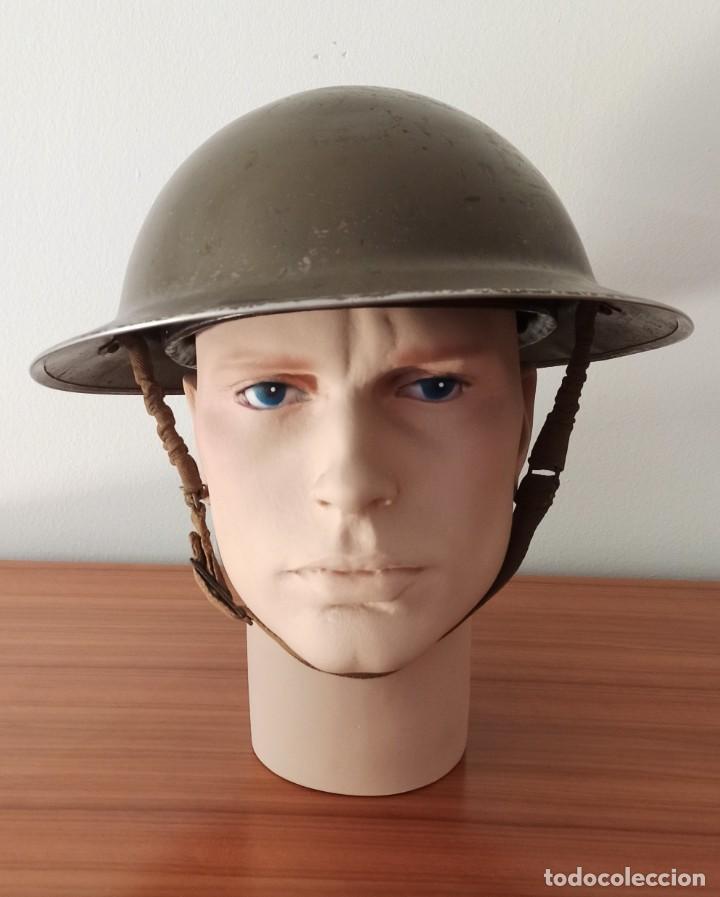 CASCO ORIGINAL Y COMPLETO USADO EN LA WWII POR EL EJERCITO INGLÉS TOMMY MODELO MKII (Militar - Cascos Militares )