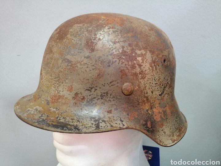 CASCO ALEMAN DE COMBATE MODELO 42 CAMUFLAJE TROPICAL ORIGINAL WWII (Militar - Cascos Militares )