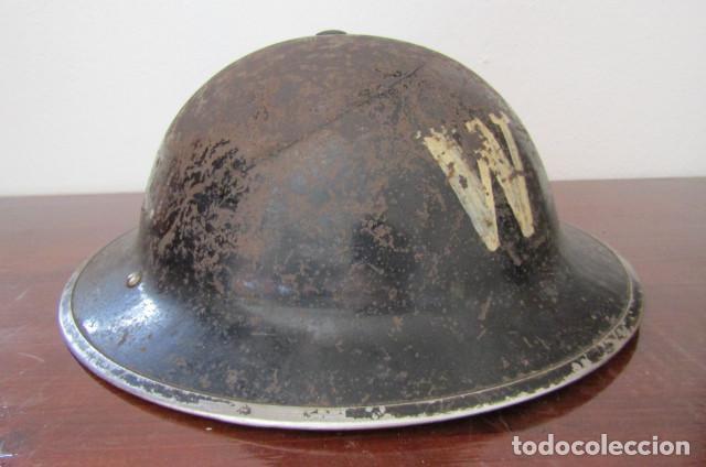 Militaria: Antiguo casco militar ejercito británico inglés II segunda guerra mundial modelo Helmet Steel MKII - Foto 2 - 217144315