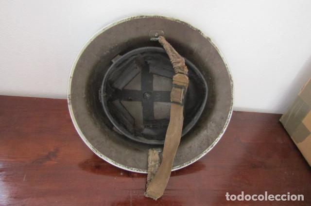 Militaria: Antiguo casco militar ejercito británico inglés II segunda guerra mundial modelo Helmet Steel MKII - Foto 3 - 217144315