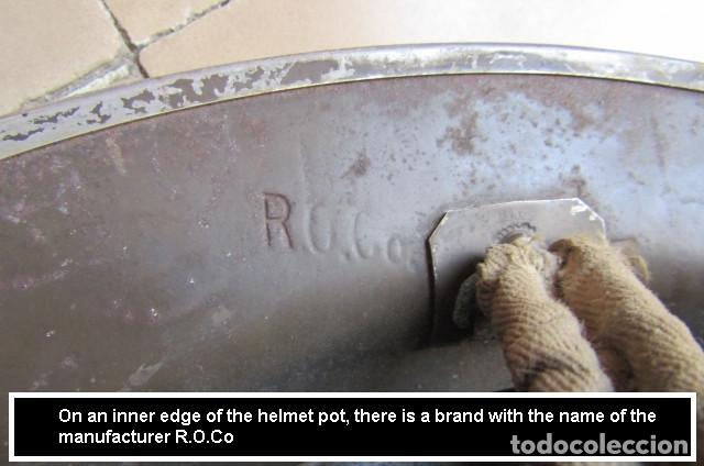 Militaria: Antiguo casco militar ejercito británico inglés II segunda guerra mundial modelo Helmet Steel MKII - Foto 6 - 217144315