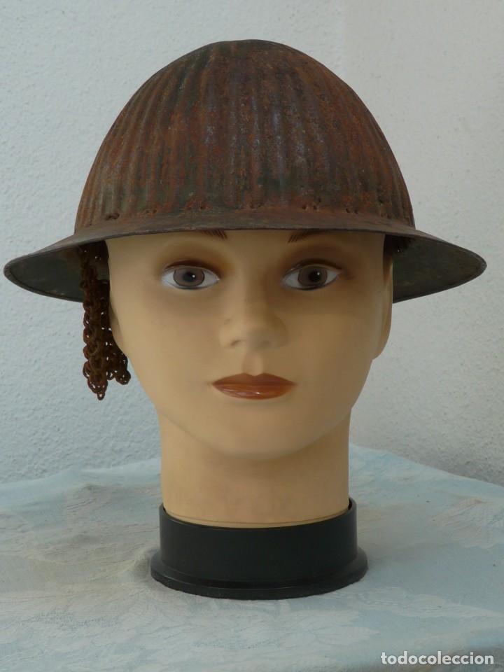 Militaria: CASCO PORTUGUES MODELO 1916 SIN INTERIOR CON RESTOS DE COTA DE MALLA - GUERRA CIVIL - Foto 10 - 221472990