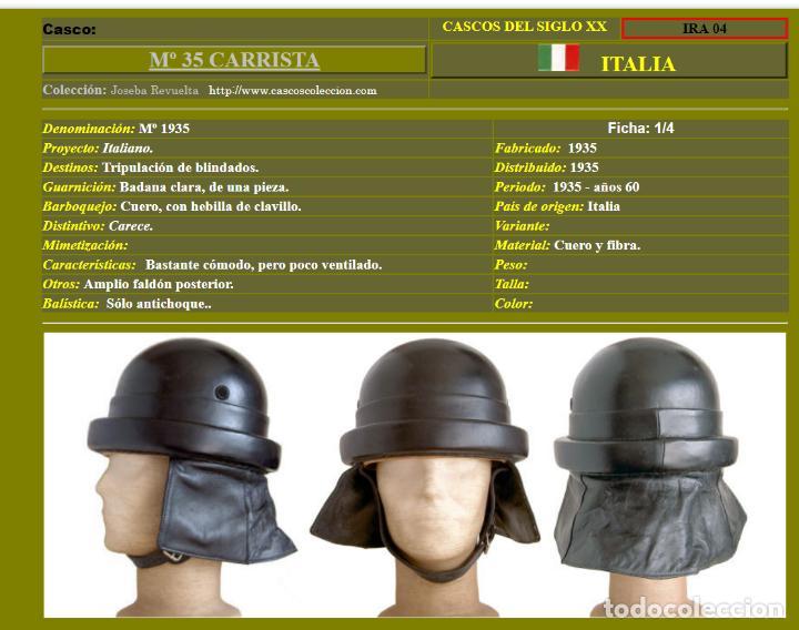 Militaria: CASCO DE CARRISTA ITALIANO, Mod. 1935. - Foto 8 - 223684057
