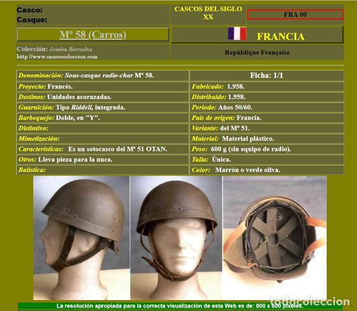 Militaria: CASCO DE TANQUISTA FRANCÉS, Mod. 1958 - Foto 7 - 223684551