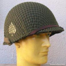 Militaria: CASCO M1 101ª DIV. CON RED + SOBRE DE 1943 + PARCHE 101ª. Lote 224419260