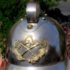 Militaria: URUGUAY FIREFIGHTER CHIEF FIREMAN BOMBERO NICKEL PLATED METAL 1911 REGULATION HELMET. Lote 228144375