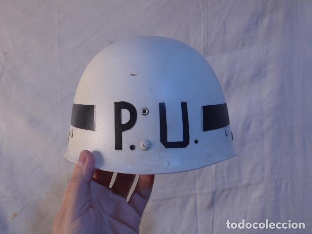 ANTIGUO CASCO PORTUGUES PU POLICIA MILITAR EN PLASTICO DURO, ORIGINAL, PORTUGAL. (Militar - Cascos Militares )