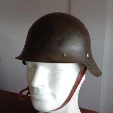 Militaria: CASCO ESPAÑOL M26 ORIGINAL SIN TRABILLA FRONTAL, INTERIOR REPRO, GUERRA CIVIL.. Lote 238845695
