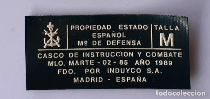 ETIQUETA CASCO MARTE 02 AÑO 1989 (Militar - Cascos Militares )