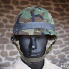 Militaria: CASCO M1 GUERRA VIETNAM, GRANADA WWII. INCLUYE FUNDA WOODLAND US ARMY USMC MARINES. Lote 252991630