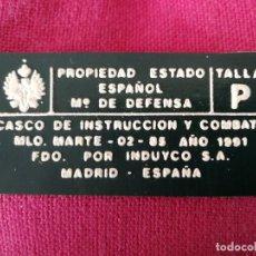Militaria: ETIQUETA CASCO MARTE AÑO 1991. Lote 265829499