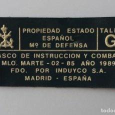 Militaria: ETIQUETA CASCO MARTE 02 AÑO 1989 TALLA G. Lote 265890063