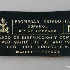 Militaria: ETIQUETA CASCO MARTE 02 AÑO 1989 TALLA M. Lote 265899158