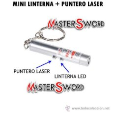 Militaria: LASER PUNTERO LLAVERO LINTERNA LED HOMOLOGADO INCLUIDO. 5 CMS ** LOTE 2 PIEZAS. Lote 22301167
