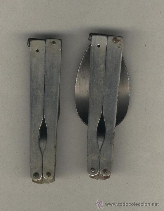 Militaria: Cubiertos plegables de campaña. Tenedor y cuchara. - Foto 2 - 38445976