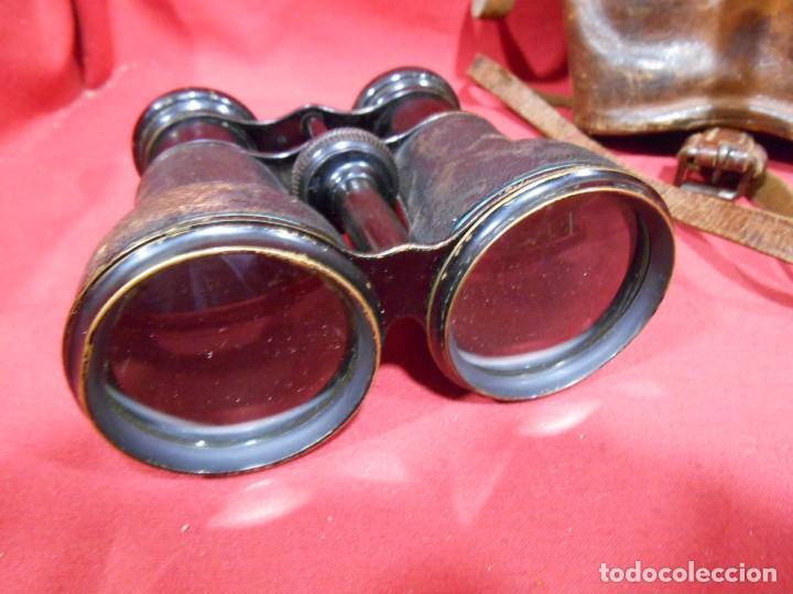 Militaria: ANTIGUOS PRISMATICOS, BINOCULARES DE PIEL NEGRA- CON ESTUCHE EN CUERO ORIGINAL - PPOS SIGLO XX - - Foto 3 - 79910074