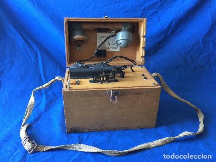 TELÉFONO DE CAMPAÑA STANDARD ELÉCTRICA C-03101 (EE 107) GUERRA CIVIL, MADRID 1937 (Militar - Equipamiento de Campaña)
