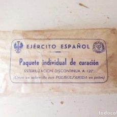 Militaria: PAQUETE INDIVIDUAL DE CURACIÓN EJERCITO ESPAÑOL. Lote 98422463