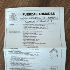 LOTE COMIDA MILITAR PACK 4. INCLUSO CON HORNILLO. NUEVO. VER FOTOS