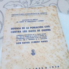 Militaria: CUADERNO DEFENSA DE LA POBLACION CIVIL CONTRA LOS GASES DE GUERRA 1935/36. Lote 121428563