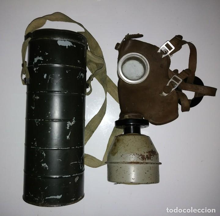 Militaria: Máscara de gas belga. L702. Segunda guerra mundial. Incluye funda metalica de transporte - Foto 3 - 123574243