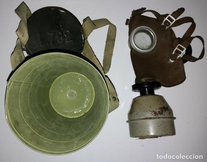 Militaria: Máscara de gas belga. L702. Segunda guerra mundial. Incluye funda metalica de transporte - Foto 4 - 123574243