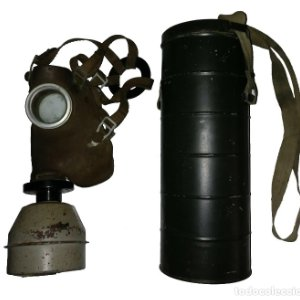 Máscara de gas belga. L702. Segunda guerra mundial. Incluye funda metalica de transporte