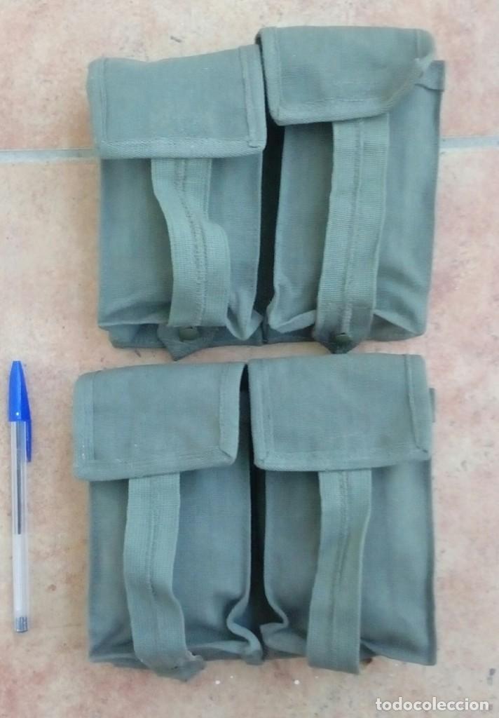 2 CARTUCHERAS DOBLES DE LONA CAQUI PARA CETME, CORREAJE M67. ¡A ESTRENAR! (Militar - Equipamiento de Campaña)