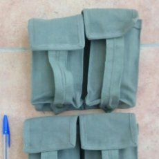 Militaria: 2 CARTUCHERAS DOBLES DE LONA CAQUI PARA CETME, CORREAJE M67. ¡A ESTRENAR!. Lote 145256708