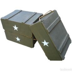 Militaria: LOTE 3 CAJAS DE MADERA MILITAR CREADAS DE ATREZZO (GRANDES). Lote 136311450