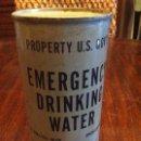 Militaria: LATA AGUA MINERAL EMERGENCY DRINKING WATER DEL EJÉRCITO AMERICANO. SIN ABRIR. MILITAR.. Lote 117379187