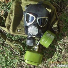 Militaria: ANTIGUA MÁSCARA DE GAS CON DOS BOTES Y BOLSA RUSIA USSR SIN USAR. Lote 140479838