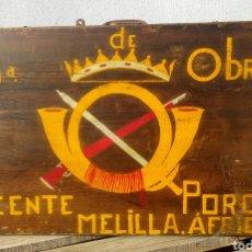 Militaria: MALETA DE MADERA DEL EJÉRCITO ESPAÑOL EN ÁFRICA, COMANDANCIA DE OBRAS. Lote 148134161