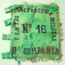 Militaria: BANDERA. 8ª COMPAÑIA. CENTRO INSTRUCCION RECLUTAS. Nº 16. VER FOTOS. 54 X 62CM.. Lote 155602442