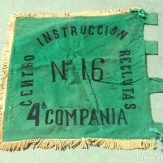 Militaria: BANDERA. 4ª COMPAÑIA. CENTRO INSTRUCCION RECLUTAS. Nº 16. VER FOTOS. 54 X 62CM.. Lote 155602586