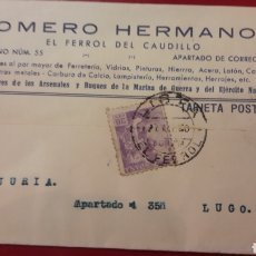 Militaria: 1940 EL FERROL DEL CAUDILLO ROMERO HERMANOS PROVEEDORES ARSENALES Y BUQUE DE LA MARINA DE GUERRA. Lote 157216016