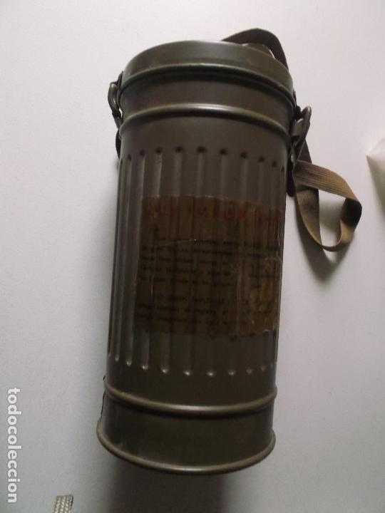 Militaria: Antigua mascara antigas con su bote, original, antigas, COMPLETA, MIRAR FOTOS - Foto 8 - 166995428