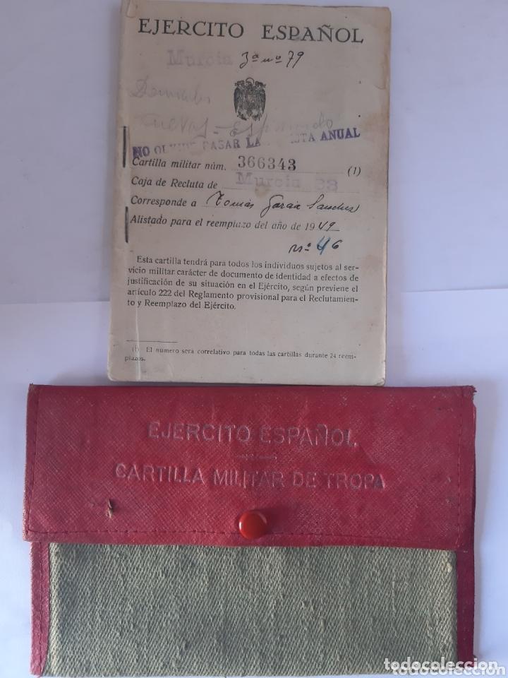 CARTILLA MILITAR DEL AÑO 1949 PORTADOCUMENTOS DE TELA Y CUERO (Militar - Equipamiento de Campaña)