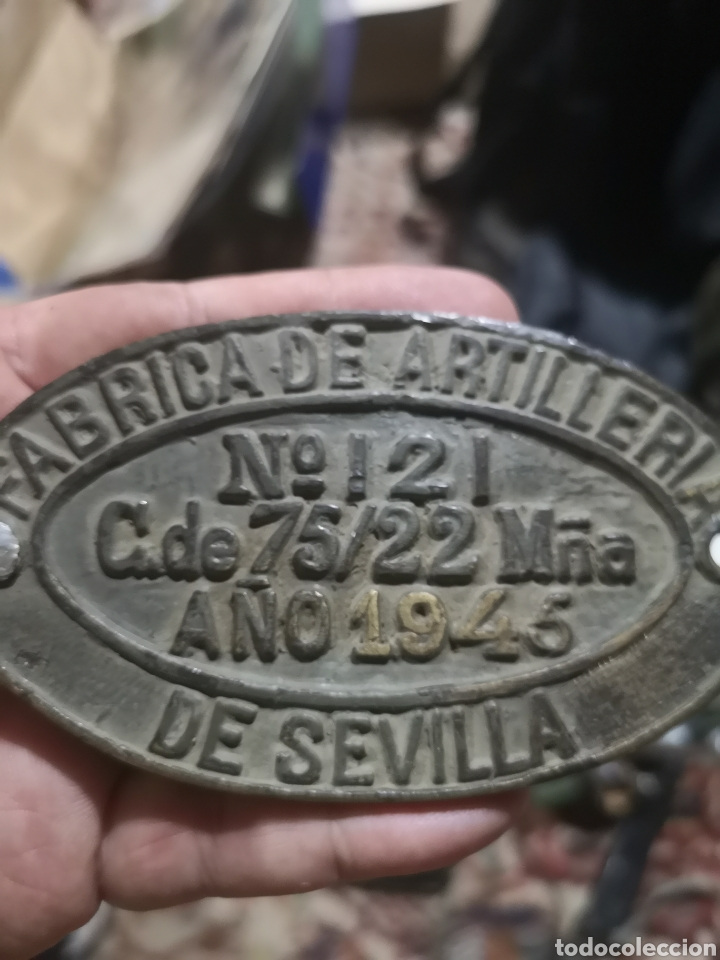 PLACA DE CAÑÓN FABRICA NACIONAL DE ARTILLERÍA SEVILLA 1945 (Militar - Equipamiento de Campaña)
