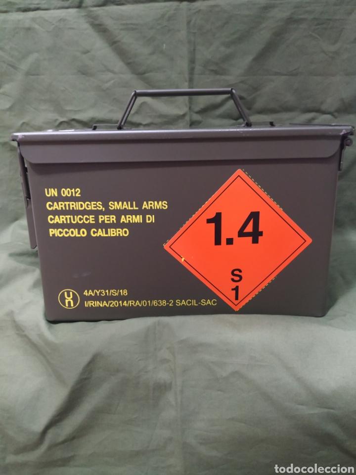 CAJA METÁLICA VERDE VACÍA DE MUNICIÓN 30×15×18 CMS NUEVA (Militar - Equipamiento de Campaña)
