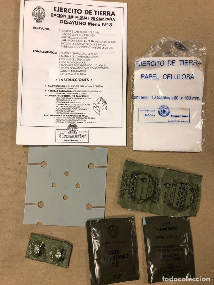 Militaria: CAJA RACIONES DE CAMPAÑA DEL EJÉRCITO ESPAÑOL. INFIERNILLOS, PASTILLAS DEPURADORAS, CERILLAS - Foto 3 - 182160738