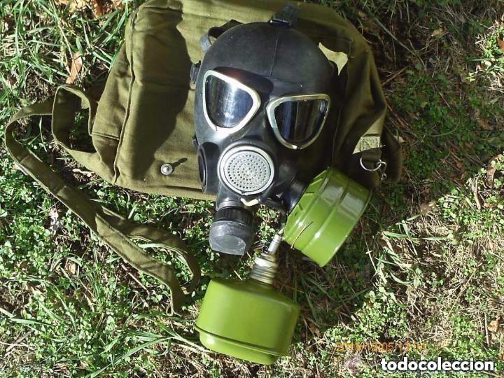 ANTIGUA MÁSCARA DE GAS CON DOS BOTES Y BOLSA RUSIA USSR SIN USAR (Militar - Equipamiento de Campaña)