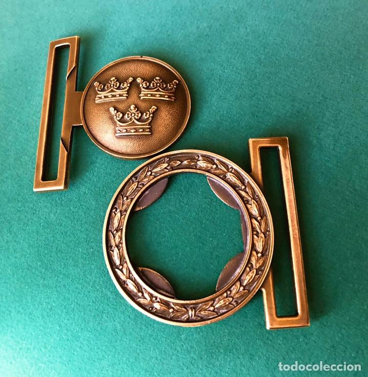 Militaria: Antigua hebilla cinturón militar sueco. Diseño 3 coronas - Foto 2 - 183800953