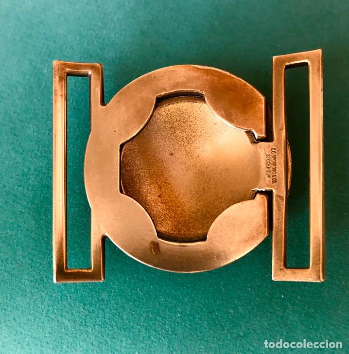 Militaria: Antigua hebilla cinturón militar sueco. Diseño 3 coronas - Foto 3 - 183800953