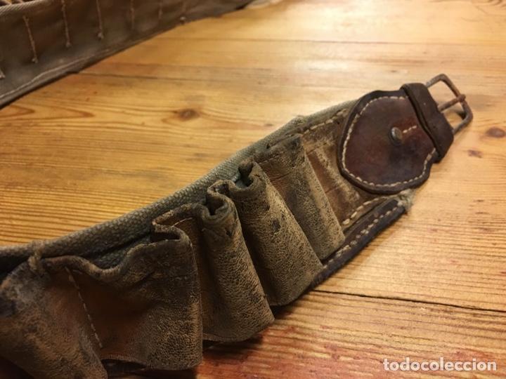 Militaria: Antiguo cinturón canana militar para cartuchos de pólvora - Tela y cuero caza - Foto 2 - 189428910