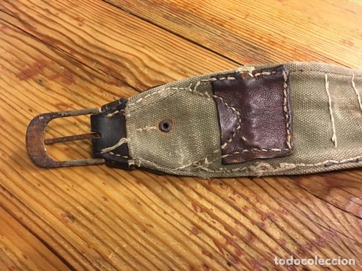 Militaria: Antiguo cinturón canana militar para cartuchos de pólvora - Tela y cuero caza - Foto 3 - 189428910