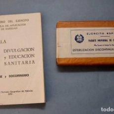 Militaria: PAQUETE INDIVIDUAL DE CURACIÓN Y CARTILLA HIGIENE Y SOCORRISMO EJÉRCITO ESPAÑOL. Lote 225065247