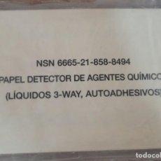 Militaria: PAPEL DETECTOR DE AGENTES QUÍMICOS AUTOADHESIVOS NBQ PRECINTADO. Lote 227577195