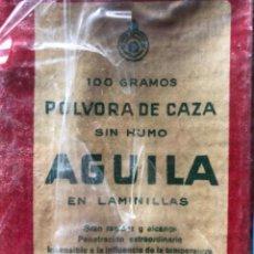 Militaria: POLVORA DE CAZA SIN HUMO ÁGUILA EN LAMINILLAS 100 GRAMOS SIN ABRIR NUEVO. Lote 287765093